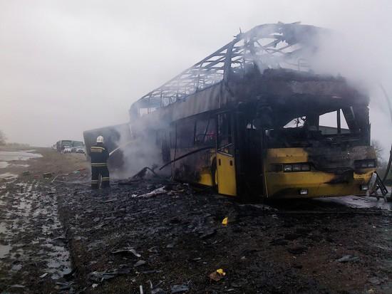 НаСтаврополье сгорел рейсовый автобус Нефтекумск