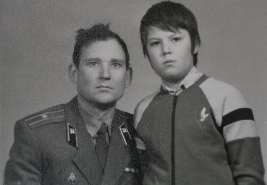 С сыном Димой.